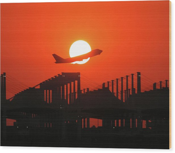 B747 Wood Print featuring the photograph B747 Sunset Take-off by Graham Taylor