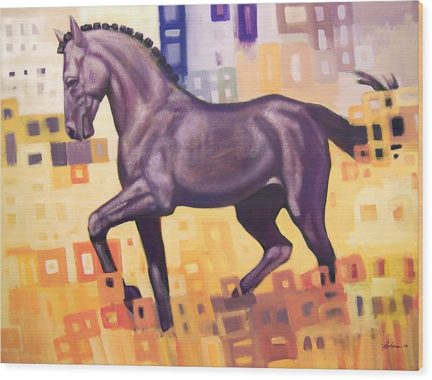 Horse Wood Print featuring the painting Black Horse by Farhan Abouassali