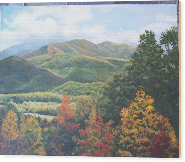 Fall Landscape Wood Print featuring the painting Colors On Parkway by Audrie Sumner