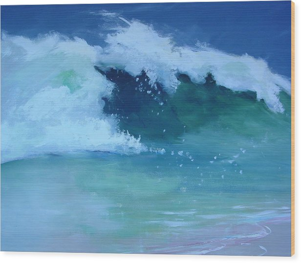 Surf Wood Print featuring the painting Hapuna Beach Shore Stack by Paul Miller