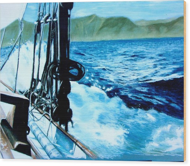 Seascape Wood Print featuring the painting Off Maui by Paul Miller