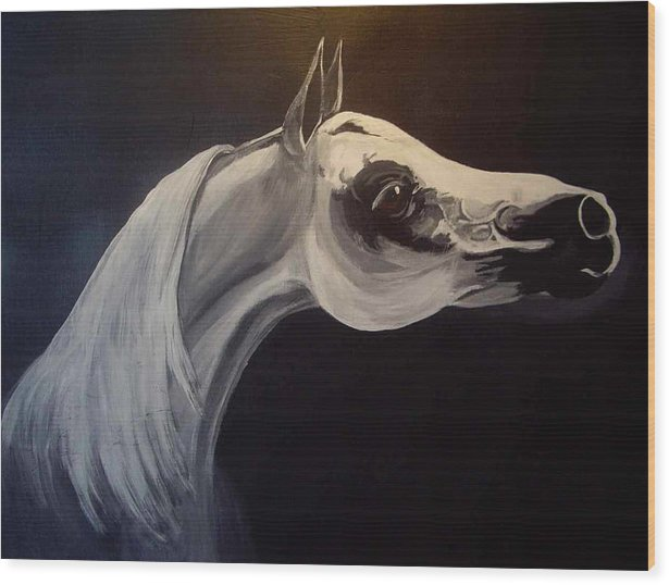 Horse Wood Print featuring the painting Proud Arabian Stallion by Glenda Smith