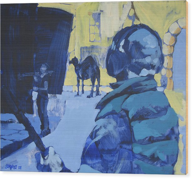 Camel Film Set Blue Yellow Landscape Painting Realistic Wood Print featuring the painting the Sound Man and the Camel by Amy Bernays