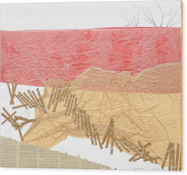 Shore Wood Print featuring the mixed media Watermarks Shoreline by Lois Nesbitt