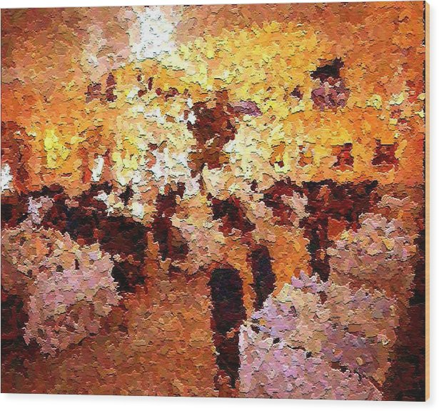 Abstract Wood Print featuring the painting Shoppers In The Gallery by Don Phillips