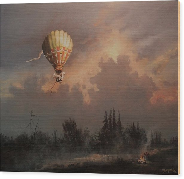 Balloon Wood Print featuring the painting Flight Of The Swan 3 by Tom Shropshire