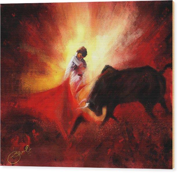 Matador Wood Print featuring the digital art Raging Bull by Kiran Kumar