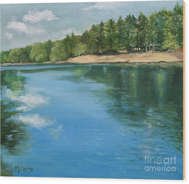 Lakes Wood Print featuring the painting Cooling Waters by Marge Casey