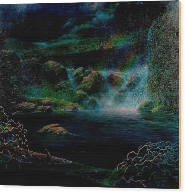 Surrealism Wood Print featuring the painting Title Unknown by Edward David Lambert
