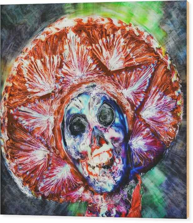 Day Of The Dead Wood Print featuring the painting Fiesta Sombrero by Paul Tokarski