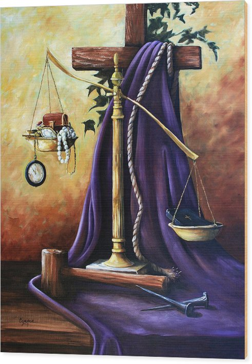 Oil Painting Wood Print featuring the painting The Purple Robe by Cynara Shelton