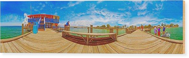Anna Maria Island Wood Print featuring the photograph 4x1 Anna Maria Island Rod And Reel Pier by Rolf Bertram