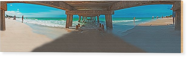 Fishing Pier Wood Print featuring the photograph 4x1 Under Fishing Pier by Rolf Bertram