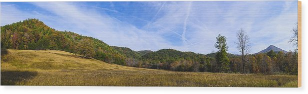 Cades Cove Wood Print featuring the photograph Mid-morning Panorama At Cades Cove by Steve Samples