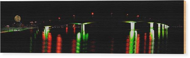 Sarasota Wood Print featuring the photograph 4x1 Moon Over Sarasota And Ringling Causeway Bridge At Night by Rolf Bertram