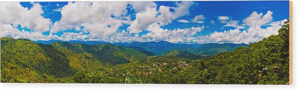 Baguio Wood Print featuring the photograph 4x1 Philippines Panorama Baguio by Rolf Bertram