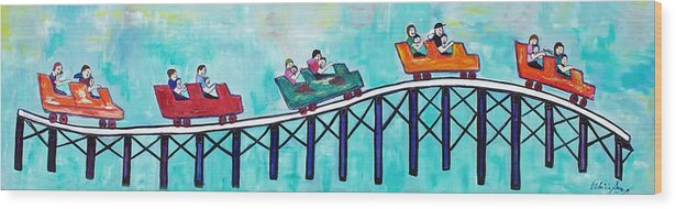 Memorabilia Wood Print featuring the painting Roller Fun by Patricia Arroyo