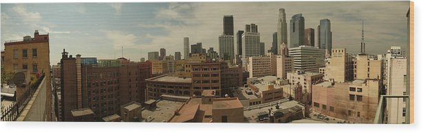 Downtown Los Angeles La La La Land Wood Print featuring the photograph Downtown Los Angeles Panorama by Kareem Farooq