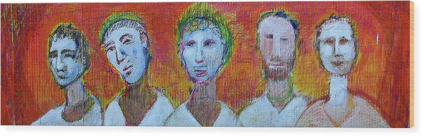 Wood Print featuring the painting 5 Guys by Robert Gravelin