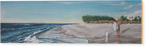 Beach Wood Print featuring the painting Bean Point by Joan Garcia
