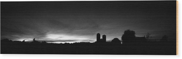 Farm Silhouette Sunset Silo Tree Sky Clouds Black White Sun Set Night Lancaster Pa Pennsylvania Wood Print featuring the photograph Farm Silhouette II by William Haney