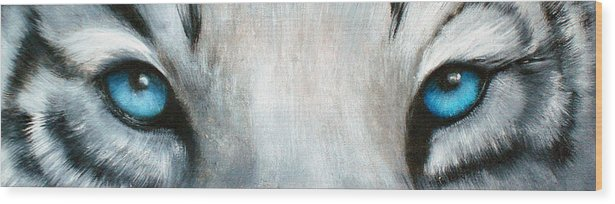 White Tiger Eyes Wood Print featuring the painting Whos Watching Who...white Tiger by Darlene Green