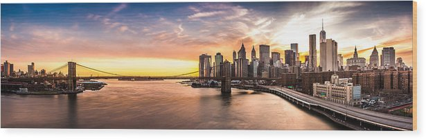 America Wood Print featuring the photograph Brooklyn Bridge Panorama by Mihai Andritoiu