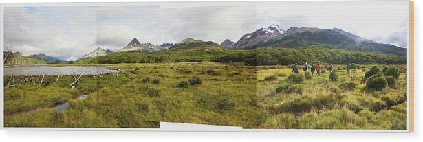Andes Wood Print featuring the photograph A Group Of Hikers Walk by Matthew Wakem