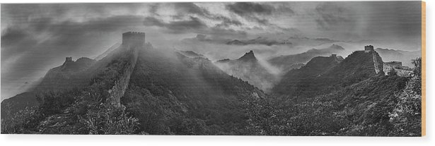China Wood Print featuring the photograph Misty Morning At Great Wall by Yan Zhang