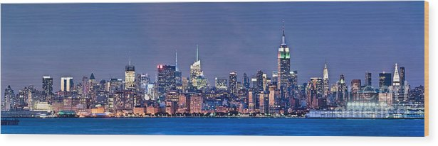 New York Wood Print featuring the photograph New York Blue Hour Panorama by Delphimages Photo Creations