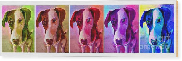Dog Wood Print featuring the painting Colored Dog Strip by Linda Vespasian