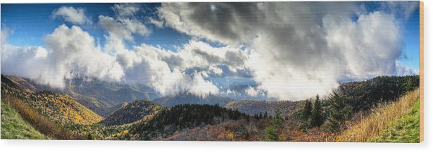 Cowee Wood Print featuring the photograph Clouds Over The Blue Ridge Mountains by Steve Samples