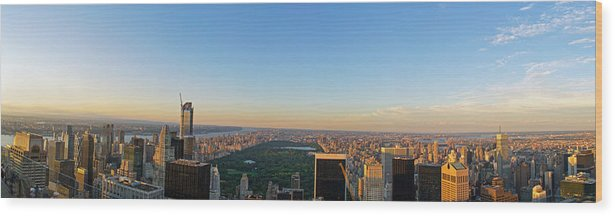 Clouds Wood Print featuring the photograph Nyc Panorama by Rima Biswas