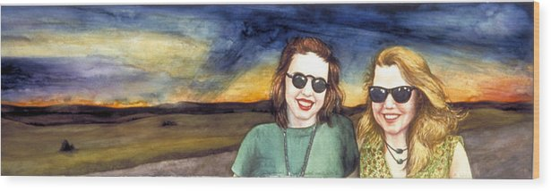 Wyoming Wood Print featuring the painting Blues Sisters by Nancy Ethiel