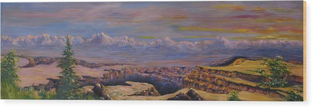 Landscape Arizona Wood Print featuring the painting Vermillion Clffs by Thomas Restifo
