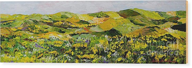Landscape Wood Print featuring the painting Patterns by Allan P Friedlander