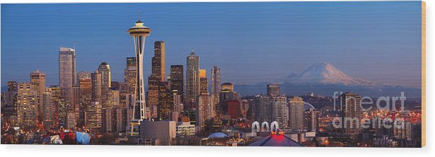 Seattle Wood Print featuring the photograph Seattle Winter Evening Panorama by Inge Johnsson