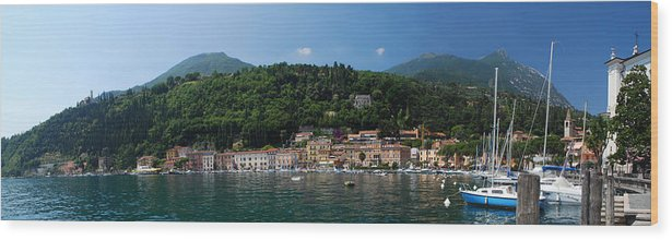 Luxury Wood Print featuring the photograph Panoramic View Of Toscolano-maderno by Jeff Rose