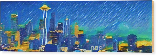 Colorful Seattle Skyline Panorama Wood Print featuring the painting Colorful Seattle Skyline Panorama by Dan Sproul