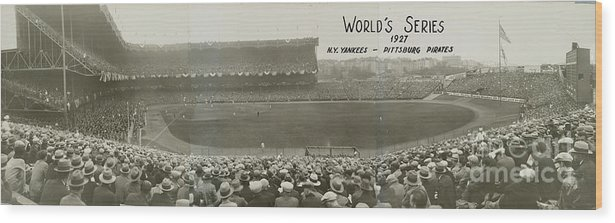 Playoffs Wood Print featuring the photograph 1927 World Series At Yankee Stadium 1927 by National Baseball Hall Of Fame Library