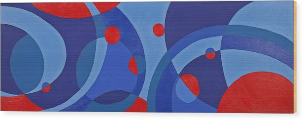 Abstract Wood Print featuring the painting Red And Blue Worlds by Susan Rinehart