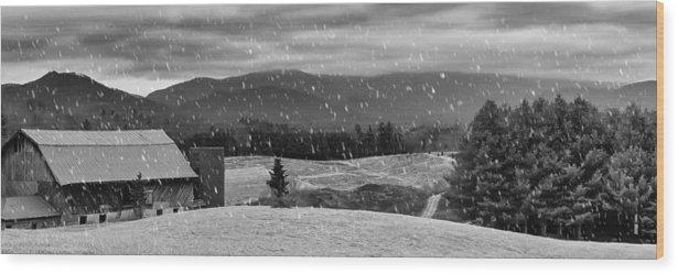 Farm Wood Print featuring the photograph Snowy Mountain Farm by Capturing The Carolinas