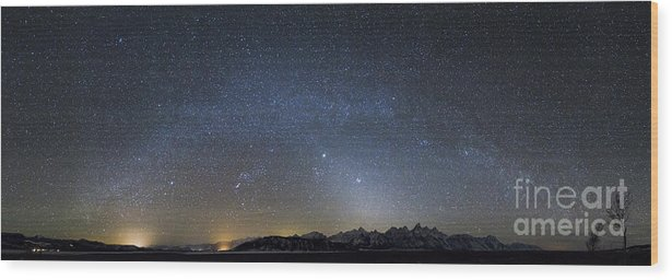 Andromeda Wood Print featuring the photograph Milky Way Galaxy Over Jackson Hole by Mike Cavaroc
