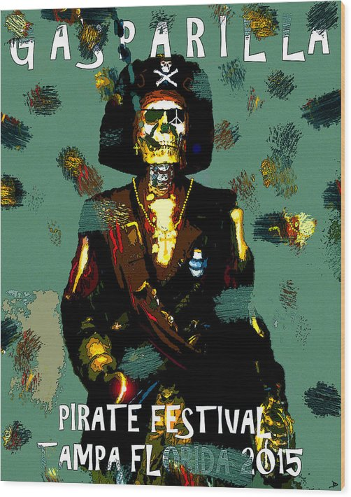 Gasparilla Wood Print featuring the painting Gasparilla Pirate Fest 2015 Full Work by David Lee Thompson