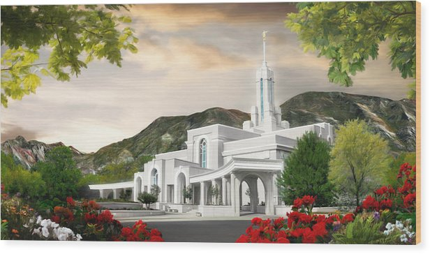 Mount Wood Print featuring the painting Mt. Timpanogos Temple #1 by Brent Borup
