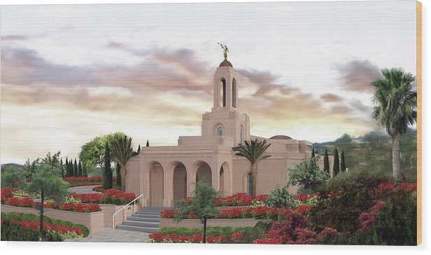 Newport Wood Print featuring the painting Newport Beach Temple by Brent Borup