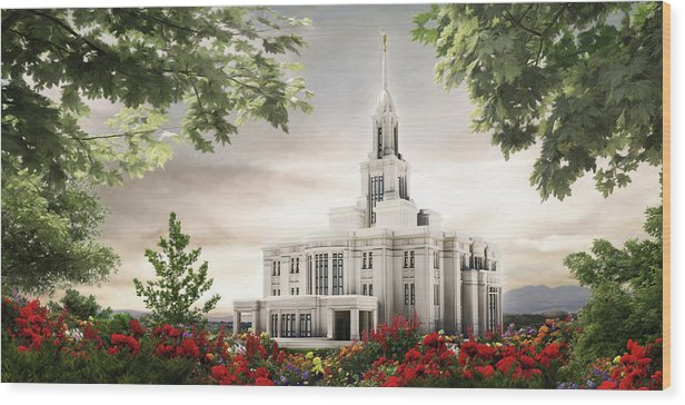 Payson Wood Print featuring the painting Payson Temple by Brent Borup