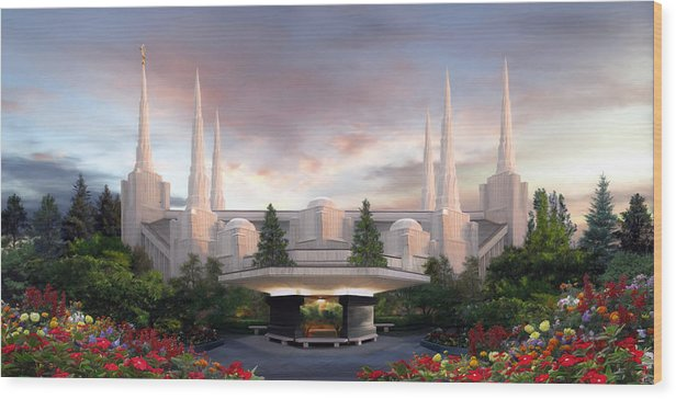 Portland Wood Print featuring the painting Portland Temple by Brent Borup