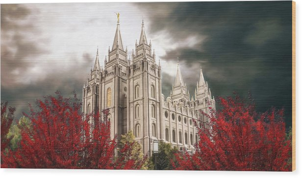 Salt Lake Wood Print featuring the painting Salt Lake Temple - A Light in the Storm by Brent Borup
