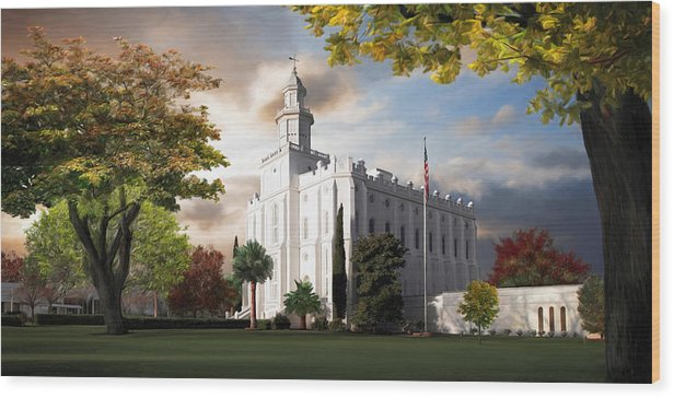 St. George Wood Print featuring the painting St. George Temple by Brent Borup
